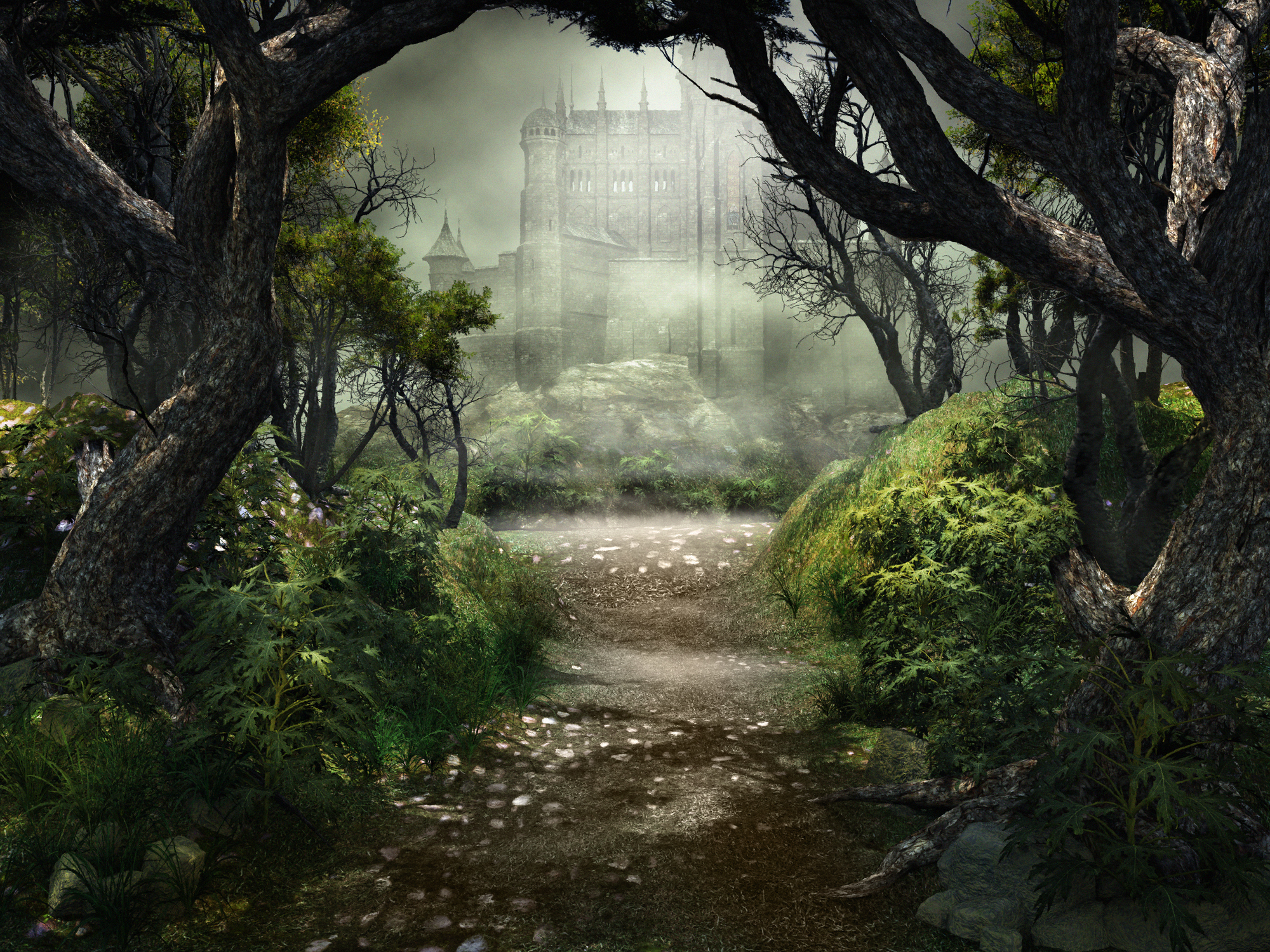 Dark scenery with forest road and castle